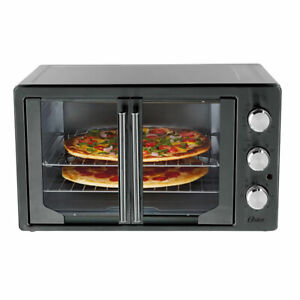 Oster French Door Turbo Convection Toaster Oven Metallic and Charcoal Open Box