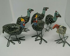 Hand Carved Guinea Fowl and Hornbill Wood Sculptures Figurines Kenya Lot of 6 $29.97