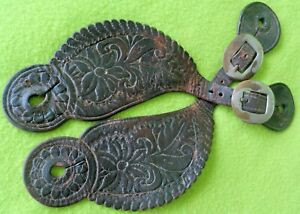 Wonderful Antique WIDE Hand Tooled Cowboy Western SPUR STRAPS SCALLOPED Edge NR
