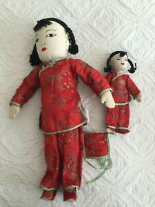Vintage Chinese Dolls Mother with Baby on Back 18quot; Cloth Made in Hong Kong $24.99