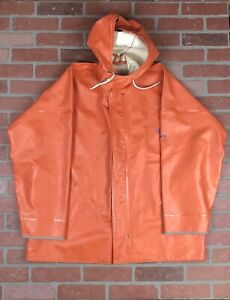 GRUNDENS BRIGG Mens Sz L Commercial Fishing Jacket Hood Orange