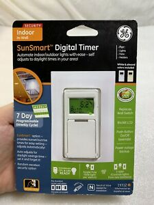 GE SunSmart 3 Way Digital In Wall Timer Model 15312 White CFL LED Neutral Wire $29.99