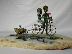 Malcolm Moran Bronze Sculpture Of Children On Bicycle With Bears On Agate Base $300.00