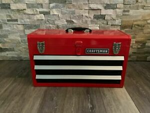 CRAFTSMAN Portable Tool Box 20.5 in Ball bearing 3 Drawer Red Steel and Lockable $59.99