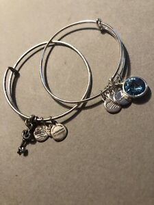 Set Of 2 Alex and Ani silver tone charm bracelet with Light Blue Stone And Key $13.00