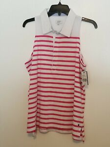 Crown amp; Ivy NWT Sleeveless Sport Collared Top. Size L. Pink amp; White $12.99