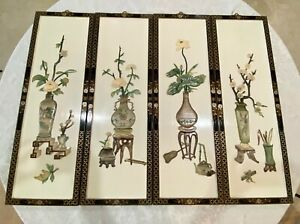 Chinese Wood White Lacquered Hanging Panels 4 . LOCAL PICKUP $600.00