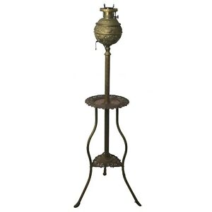 Antique 1800s Plume Atwood Brass PIANO FLOOR LAMP Victorian Oil Parlor Vtg $395.00