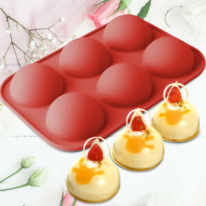 6 Cavity Silicone Cake Mold Hot Chocolate Bombs Mould 2quot; Half Ball Sphere 1PACK $7.95