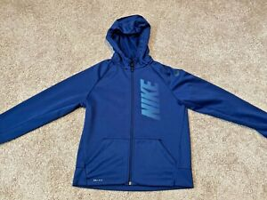 Nike Boys Hoodie Dri Fit Navy Blue Full Zip Size Youth Large $13.50