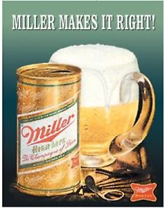 Miller High Life Makes It Right Metal Tin Sign Beer Garage Bar Home Decor New $15.99