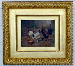 1800#x27;s Antique BARNYARD ROOSTER CHICKEN Victorian OIL PAINTING by SCOTT LEIGHTON $1275.00