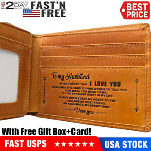 To My Husband Customized Engraved Leather Wallet for Birthday Xmas Gift USA