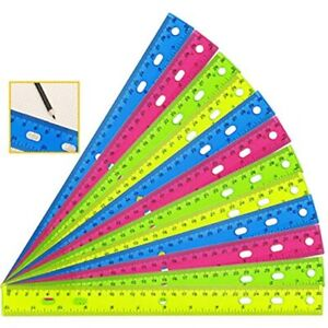 YGOline 12 Pack Inch Clear Plastic Color Ruler Straight Student School Office