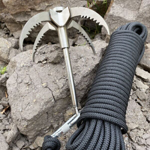 Grappling Hook Claw Survival Tool Climbing Fishing with 20m 65ft Auxiliary Rope