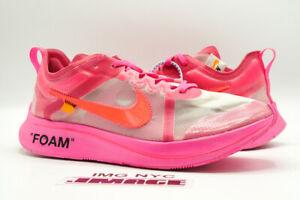 NIKE ZOOM FLY USED SIZE 11 OFF WHITE TULIP PINK RACER PINK AJ4588 600