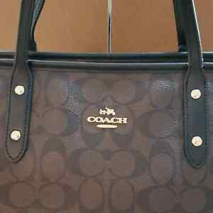 COACH CITY ZIP TOTE GOLD BROWN BLACK IN OUTSTANDING CONDITION