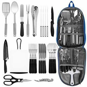 Portable Camping Kitchen Utensil Set 27 Piece Stainless Steel Outdoor Cooking