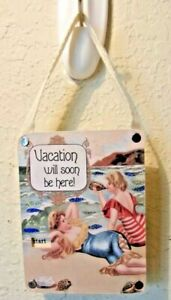 VICTORIAN BEACH SCENE VACATION WILL BE HERE SOON COUNTDOWN WALL SIGN HANGER $8.99