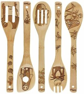 Kitchen Slotted Spoon Nightmare Before Christmas Bamboo Cooking Utensil 5 Pc Set $18.95