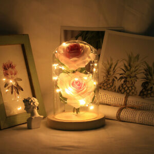Crystal Colorful Gold Rose Flower in glass dome LED Valentine#x27;s Romantic Gift $18.57