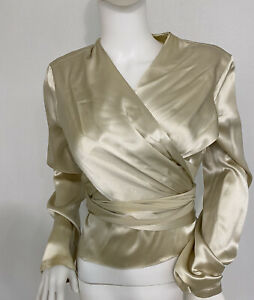 Vintage 70s Calvin Klein Heavy Champagne Silk Blouse W Panels His Best Line 6