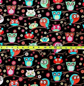 Hoot Owls In TreesGirly Owls Cotton Fabric by the Yard Sewing Quilters Cotton $7.75