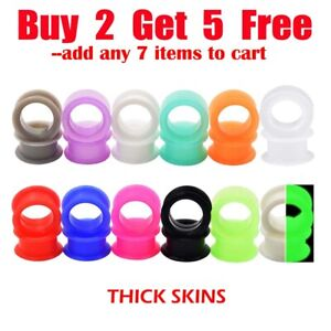 Pair of Thick Ear Gauges Plugs Soft Silicone Ear Flesh Tunnels Ear Stretchers