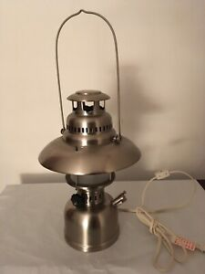 "Silver Metal Electrified Camp Lantern Lamp 14"" Tall $9.50"