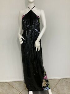 Vintage Geoffrey Beene His Best Line Black Sequined Gown W Fishtail Made USA 2