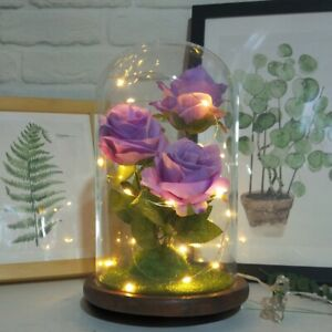 Crystal Colorful Gold Rose Flower in glass dome LED Valentine#x27;s Romantic Gifts $9.24