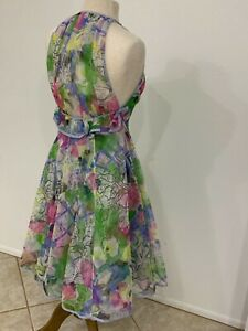 Vintage Geoffrey Beene Best Line Blue Watercolor Print Dress With Bows 2 4