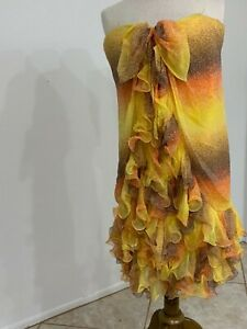 Vintage Yellow Bill Blass Best Line Strapless Dress in Layers Of Silk Chiffon 2
