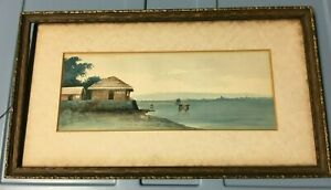 Signed Watercolor Painting of Man fishing on Pier with Shacks