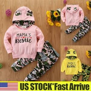 Baby Girls Long Sleeve Camo Letters Tops T shirt Pants 2Pcs Outfits Set Clothes $16.00