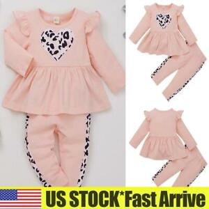 Toddler Kids Baby Girls Outfits Clothes Ruffle Tops Pants Leopard Tracksuit Set $7.35