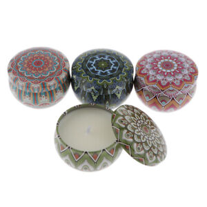 4pcs Ethic Style Tin Candle Soy Wax Wedding Yoga Scented Aromatherapy Candle $17.87