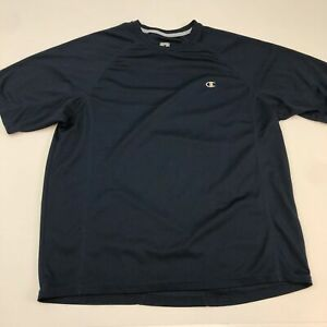 Champion Double Dry Shirt Mens Large Short Sleeve Navy Crew Neck 100% Polyester $17.99