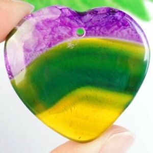 Yellow Green Purple Druzy Geode Agate Heart Pendant Bead S83279 $6.99