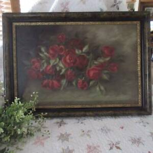 Gorgeous Rich 19th c Antique Victorian OIL of ROSES 27x19 $395.00