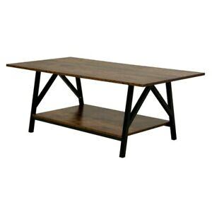 Rustic Coffee Table Modern Industrial Living Family Room Furniture Wood Metal $128.99