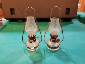 2 vintage small hanging oil lamps
