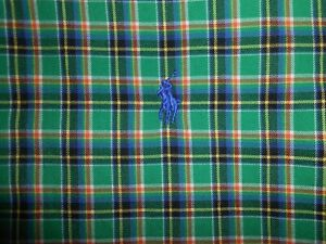 Ralph Lauren Polo Mens Designer Long Sleeve Green Plaid Casual Shirt Medium