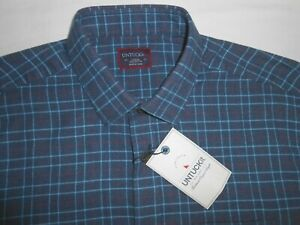 UNTUCKit Mens Designer Long Sleeve Blue Checkered Flannel Shirt Large NEW