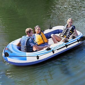 3 Person 8 FT Inflatable Rafting and Fishing Boat Set Raft with 2 Oars amp; Pump