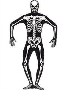 Skeleton Second Skin Costume Black with Concealed Fly amp; Under Chi.. COST M NEW