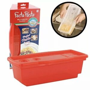 Microwave Pasta Cooker The Original Fasta Pasta Red No Mess Sticking or $14.95