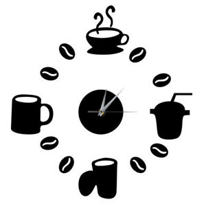 DIY Modern Home Decoration Large Coffee Cup Decal Kitchen Wall Clocks Silent Wat $8.57