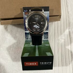 Timex Watch NFL Denver Broncos Indiglo WR50M Stainless Steel Tribute Collection