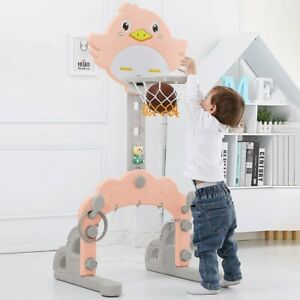 3 In 1 Baby ball Hoop Stand With Basketball Ring Toss Soccer JoyfulChildren Toy $52.88